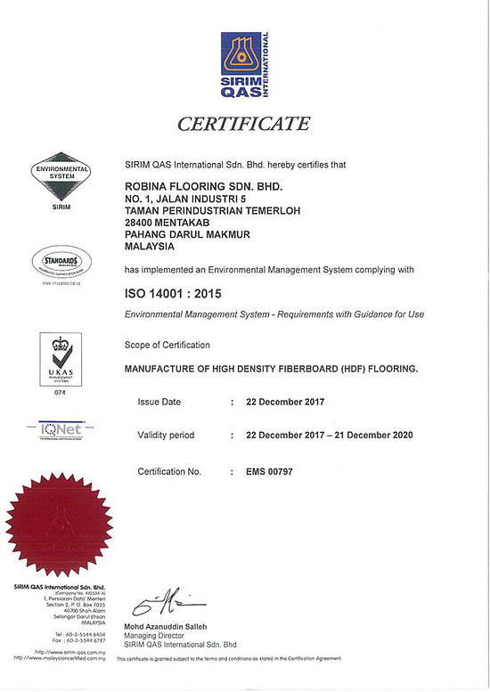 Robina Flooring is MS ISO 14001:2015 certified.