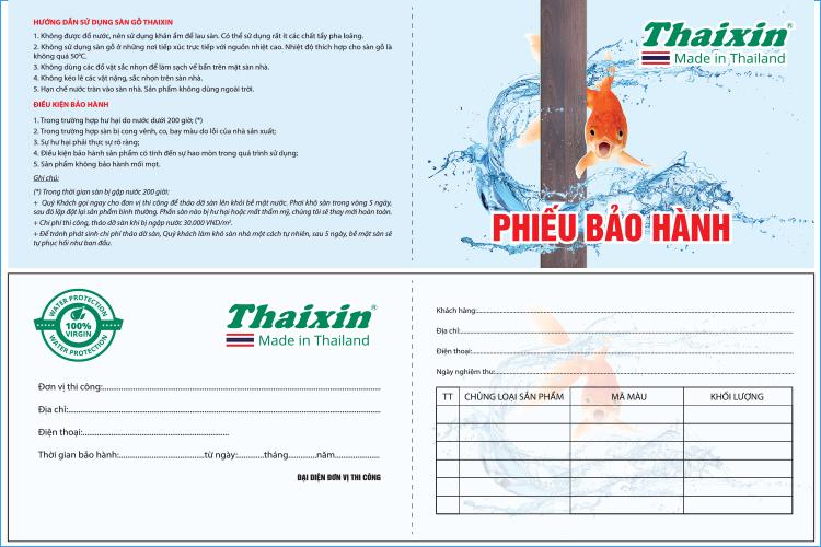 Bảo hành chính nghạch tại Việt Nam 15 năm với Thaixin Flooring