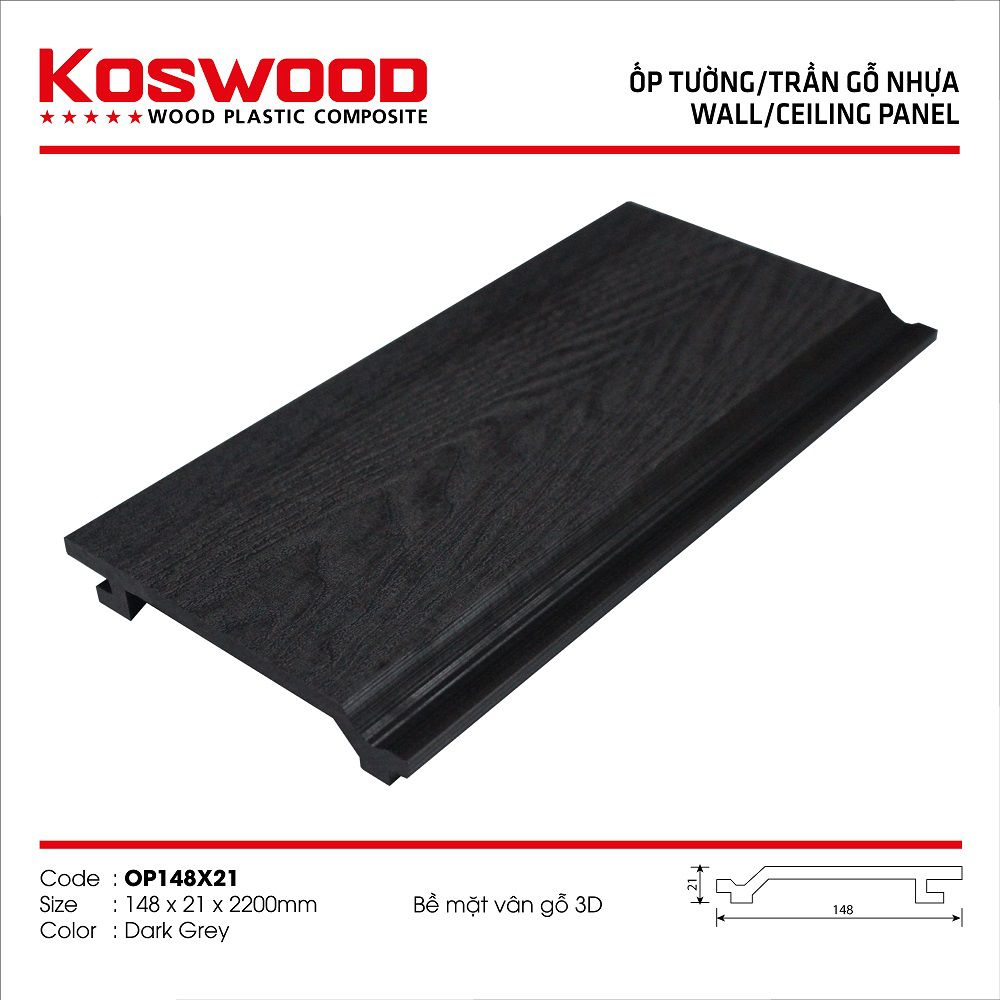 Ốp/tường trần gỗ nhựa ngoài trời KOSWOOD