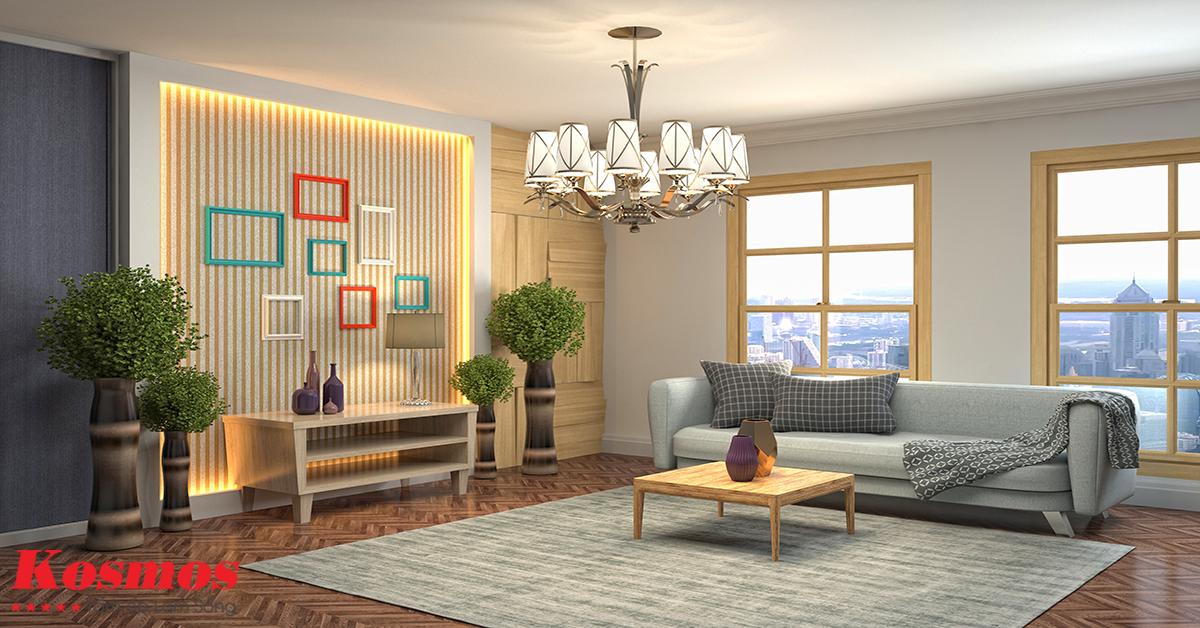 Ốp tường phòng khách bằng tấm ốp Lam sóng Kosmos