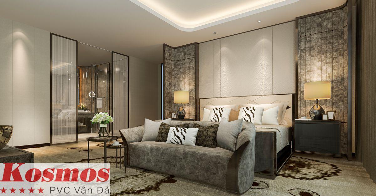 Trang trí phòng ngủ bằng tấm nhựa giả đá Kosmos