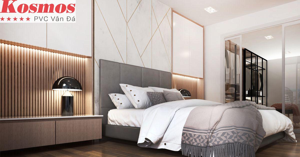 Trang trí phòng ngủ bằng tấm nhựa giả đá