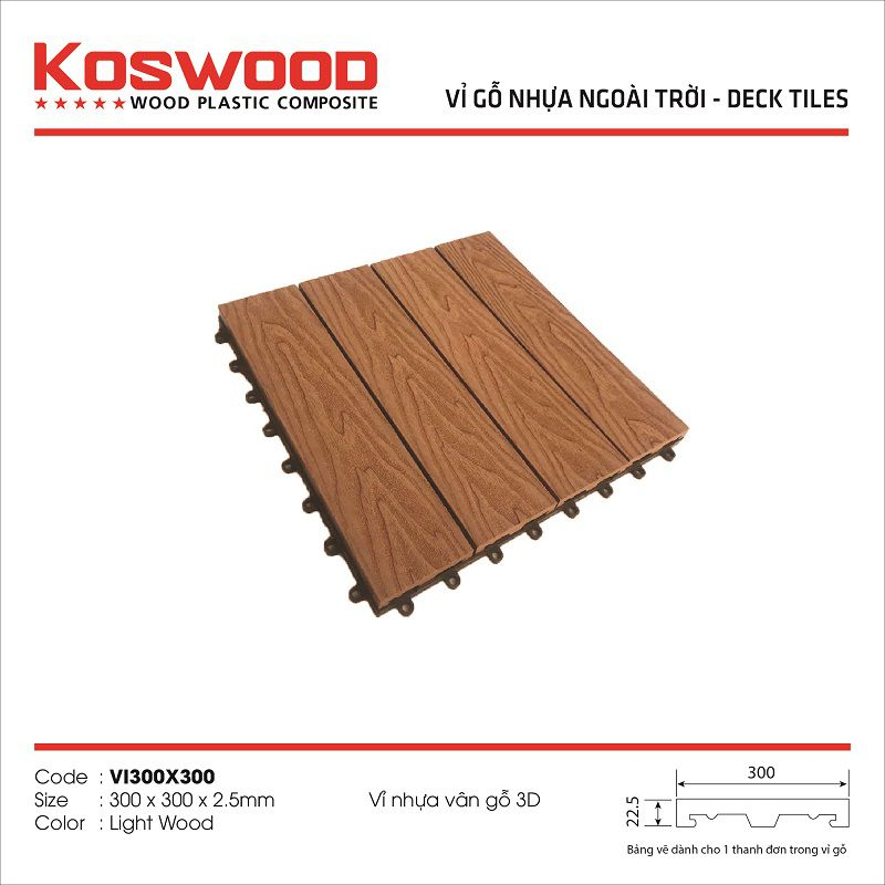 Vỉ gỗ nhựa ngoài trời KOSWOOD